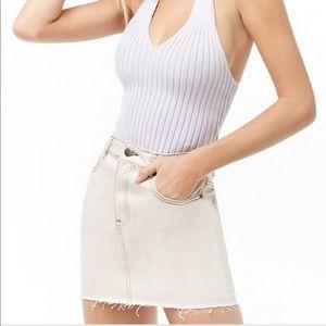 Contrast-Stitch Denim Mini Skirt